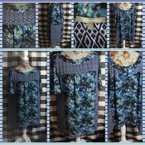 NY collection blue butterfly hem blouse